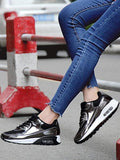 New Black And White Round Toe Sequin Lace-up Casual Ankle Shoes