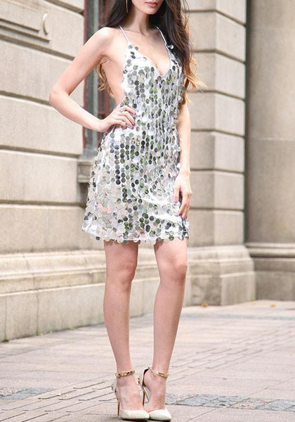 Silver Sequin Spaghetti Strap Backless Club Mini Dress