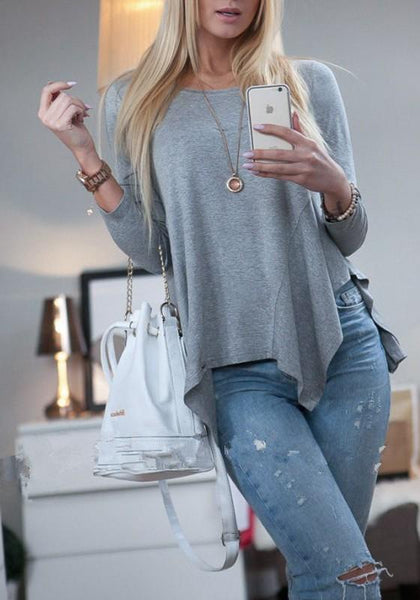Grey Plain Irregular Round Neck Long Sleeve Casual T-Shirt