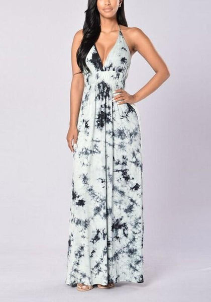 Grey Halter Neck Backless Draped V-neck Boho Beach Maxi Dress
