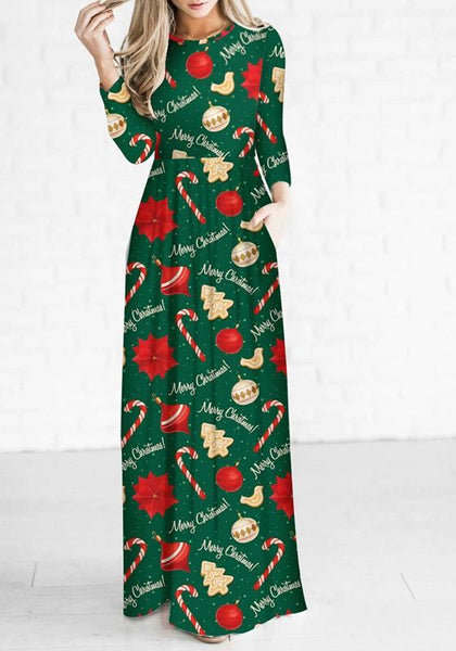 Green Floral Draped Round Neck Long Sleeve Christmas Maxi Dress