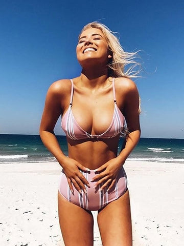 Pink Vertical Stripes Top High Waist Bottom Bikini Set
