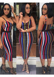 Multicolor Colorful Striped Zipper Spaghetti Strap High Waisted Midi Dress