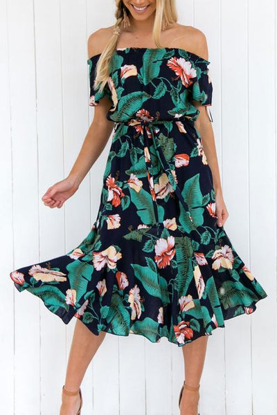Floral Off Shoulder Mid Dress