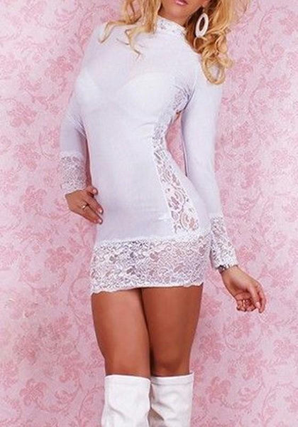 White Patchwork Lace Band Collar Long Sleeve Mini Dress