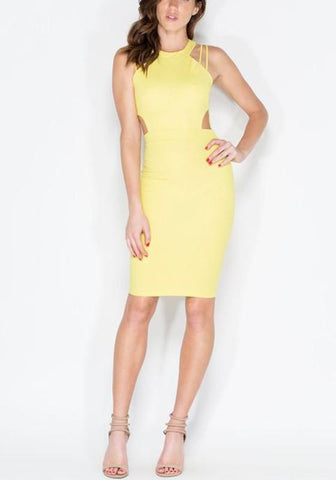 Yellow Zipper Cut Out Single Breasted Round Neck Midi Dress