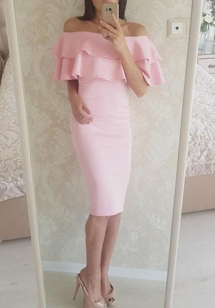 Pink Peplum Ruffle Boat Neck Short Sleeve Sweet Midi Dress