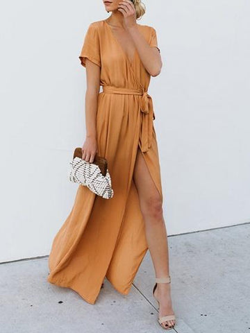 Khaki V-neck Tie Waist Thigh Split Front Maxi Dress