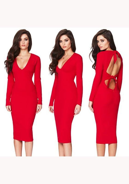 Red Cut Out Tie Back V-neck Long Sleeve Midi Dress