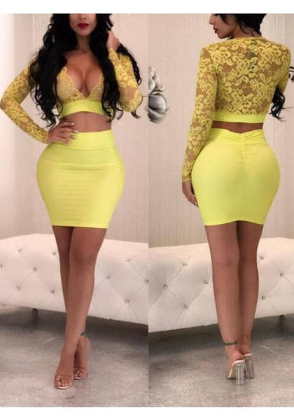 Yellow Floral Lace Deep V-neck Long Sleeve Two Piece Bodycon Party Mini Dress