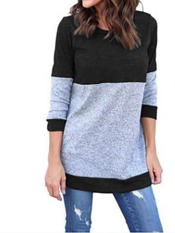 New Blue Tiered Long Sleeve Round Neck Going out T-Shirt