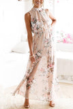 Round Neck Floral Printed Side Slit Maxi Dress