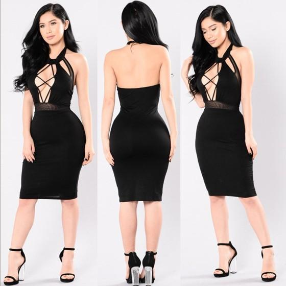 Black Patchwork Hollow-out Grenadine Halter Neck Backless Bodycon Club Midi Dress