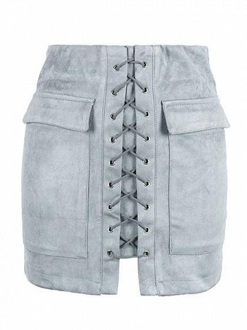 Gray Faux Suede Lace Up Front Pencil Mini Skirt