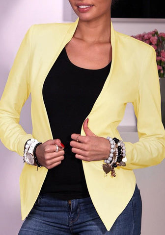 Yellow Zipper Tailored Collar Long Sleeve Polyester Coat