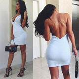 White Plain Cross Back Plunging Neckline Polyester Mini Dress