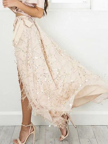 Nude Pink High Waist Sequins Side Split Mesh Overlay Maxi Skirt