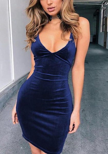Dark Blue Plain Cross Back Plunging Neckline Mini Dress