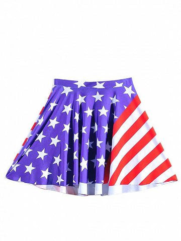 Patriotic 4th Of July American Flag Print Skater Skirt