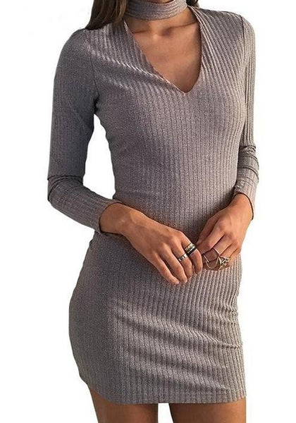 Grey Cut Out Round Neck Long Sleeve Knit Mini Dress