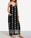 Black Tribal Print Cami Maxi Dress
