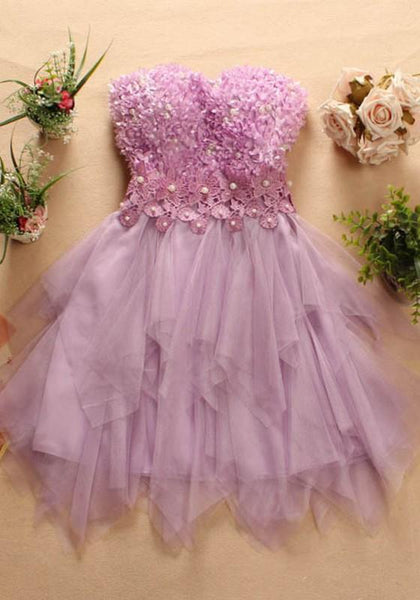 Purple Irregular Grenadine Boat Neck Beading Beach Bridesmaid Homecoming Wedding Gowns Mini Dress