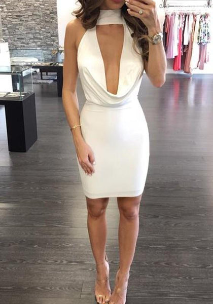 White Cut Out Tie Back High Neck Mini Dress