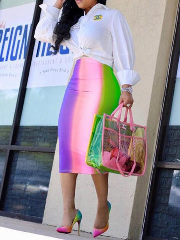 New Pink Striped Pattern Zipper Rianbow High Waisted Bodycon Elegant Midi Skirt