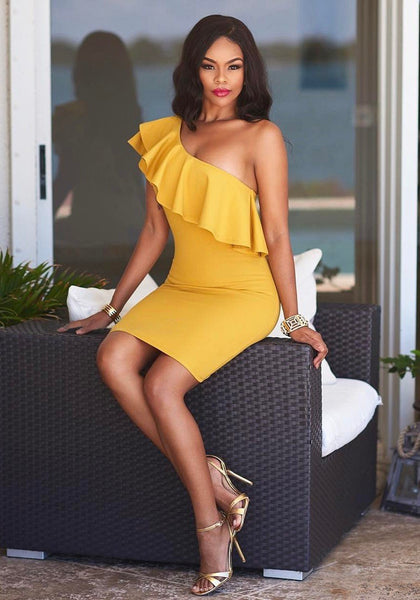 Yellow Ruffle Asymmetric Shoulder Backless Bodysuit Cocktail Party Pencil Mini Dress