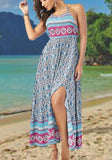 Multicolor Floral Print Irregular Tie Back Backless Sleeveless Maxi Dress