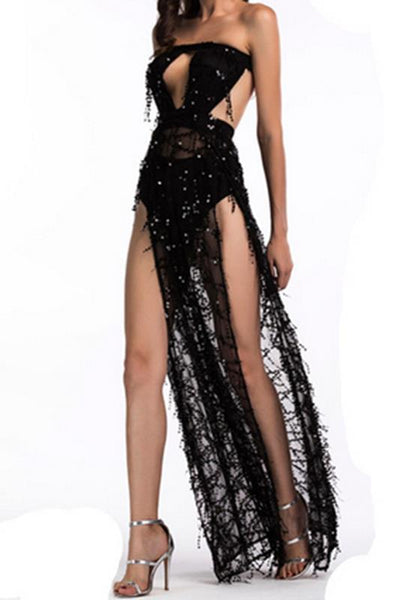Black Patchwork Cut Out Sequin Bandeau Backless Off Shoulder Party Maxi Dress