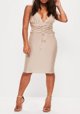 Apricot Lace-up Deep V-neck Spaghetti Strap Backless Bodycon Club Mini Dress
