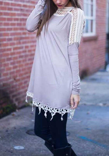 Grey Patchwork Hollow-out Lace Round Neck Long Sleeve Mini Dress