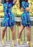 Blue Leopard Print Round Neck Short Sleeve Bodycon Club Mini Dress