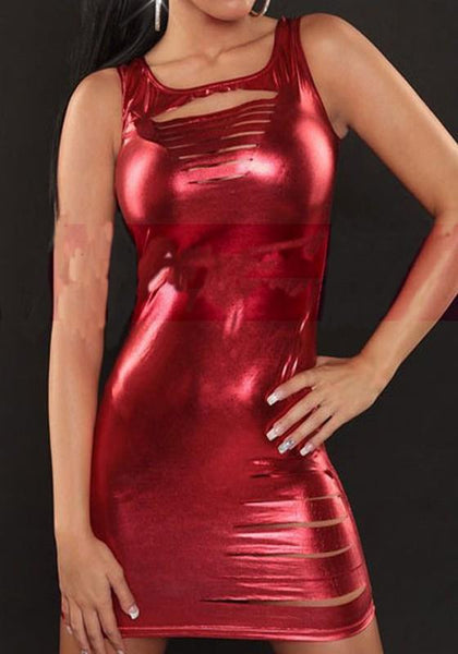 Red Plain Hollow-out Square Neck Sleeveless Bodycon Club Mini Dress