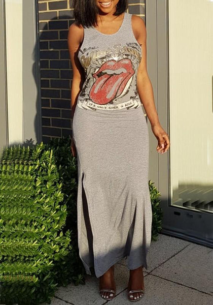 Grey The Rolling Stones Print Slit Bodycon Rock And Roll Party Maxi Dress