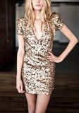 Golden Patchwork Gold Sequin Deep V-neck Club Party Mini Dress