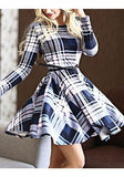 Multicolor Striped Draped Belt Long Sleeve Round Neck Fashion Midi Dress