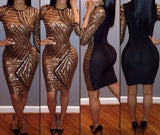Golden-Black Sequin Round Neck Half Sleeve Bodycon Party Dress