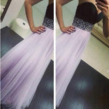 Light Purple Patchwork Bandeau V-neck Maxi Dress
