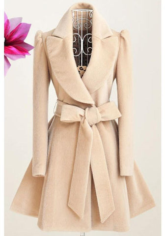 New Beige Draped Sashes Bow Turndown Collar Long Sleeve Coat