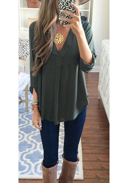 Army Green Plain Draped Pockets V-neck 3/4 Sleeve Blouse