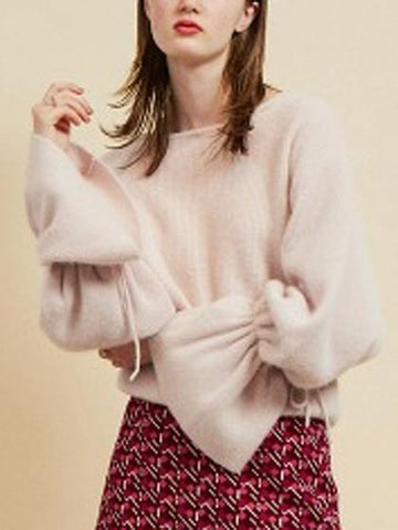 Pink Bow Tie Detail Flare Sleeve Knit Sweater