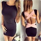 Black Patchwork Pink Cut Out Cross Back Sleeveless Mini Dress
