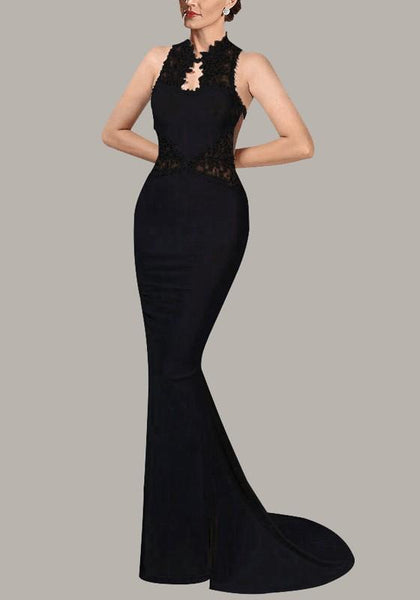 Black Patchwork Grenadine Lace Bodycon Banquet Mermaid Elegant Party Maxi Dress