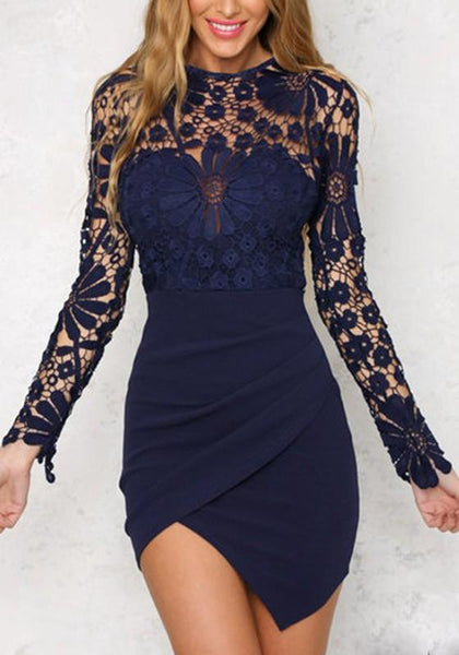 Navy Blue Patchwork Lace Irregular Zipper Round Neck Mini Dress