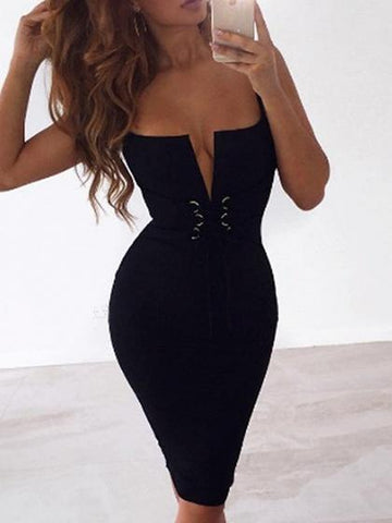 b22daac0d993 Black Spaghetti Strap Plunge Lace Up Front Bodycon Dress