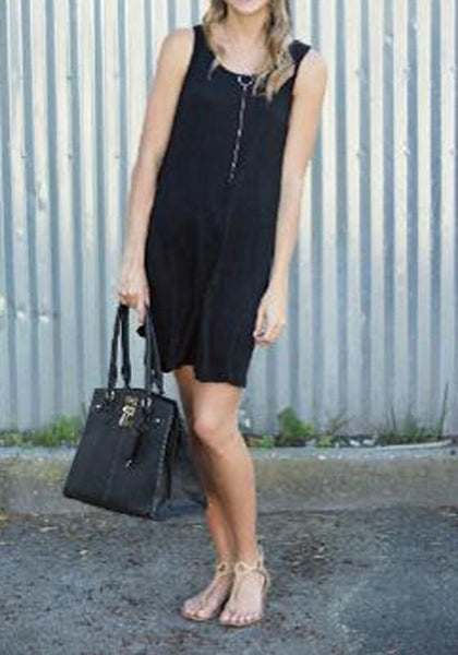 Black Plain Hollow-out Draped Open back Sleeveless Mini Dress