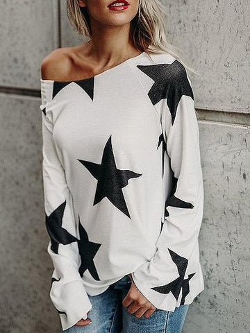 White Star Print Long Sleeve T-shirt