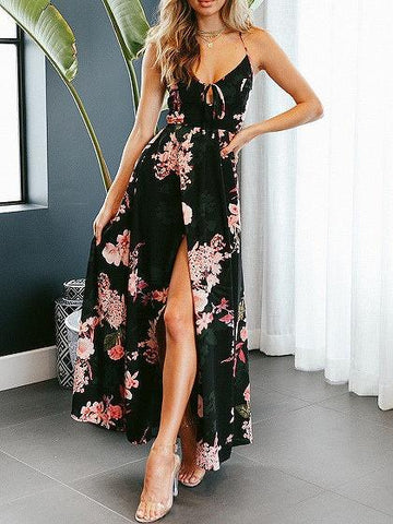 Black V-neck Floral Print Lace Up Back Slip Maxi Dress